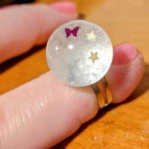 Butterfly& stars globe adjustable ring